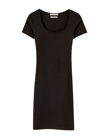 Basic mini dress with square-cut neckline