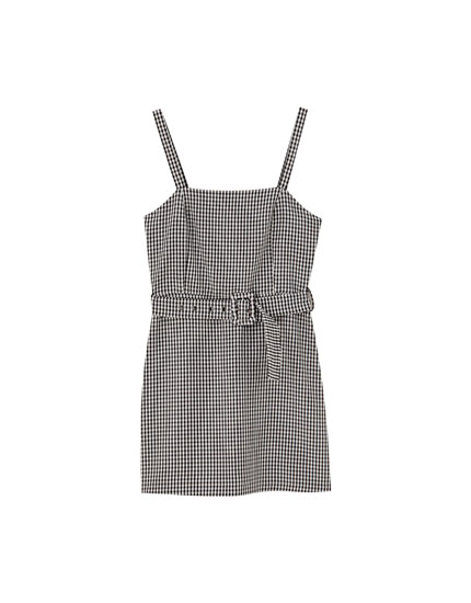 Belted mini dress with straight-cut neckline