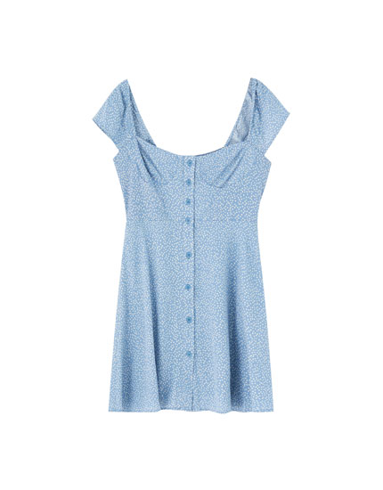 Mini push-up dress with buttons