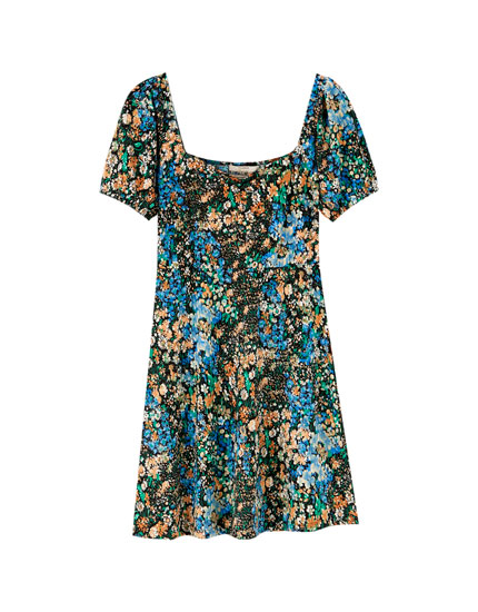 Short floral print dress with square-cut neckline