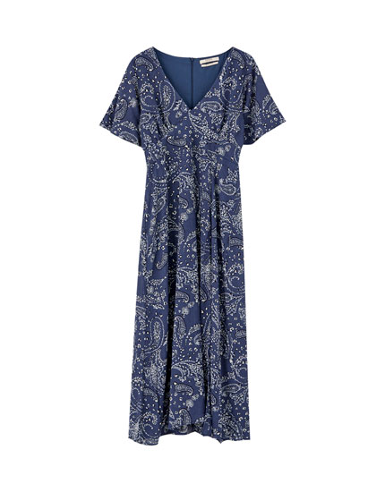Midi dress with bandanna print
