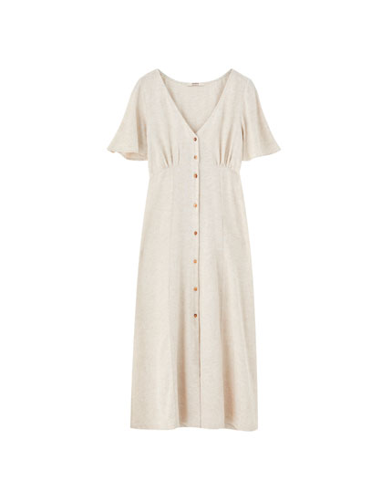 Rustic midi dress with buttons