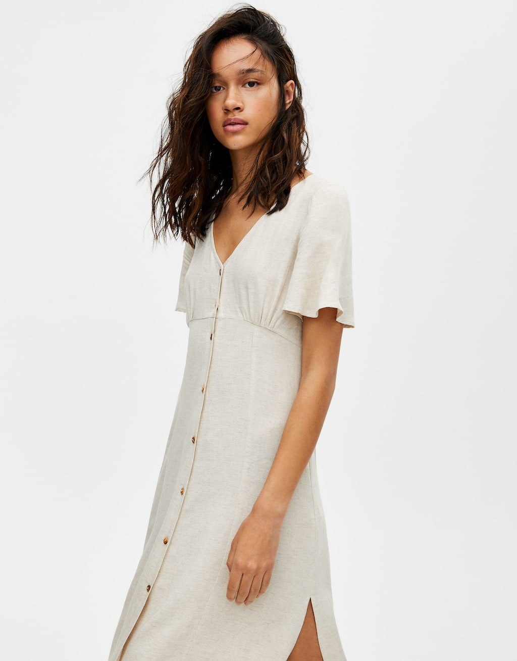 Robe Midi Rustique Boutonnée by Pull & Bear