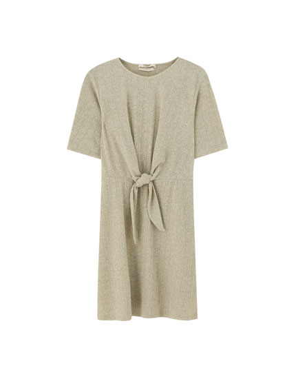 Short sleeve mini dress with knot