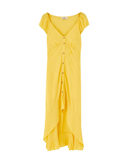 Yellow buttoned midi dress