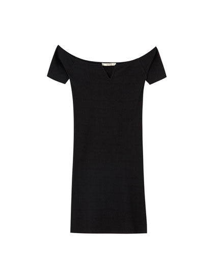 Ribbed off-the-shoulder dress