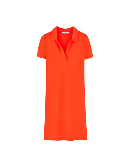 Short sleeve polo shirt-style dress