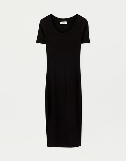 Short sleeve fitted midi dress