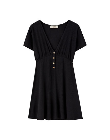 Buttoned ribbed mini dress