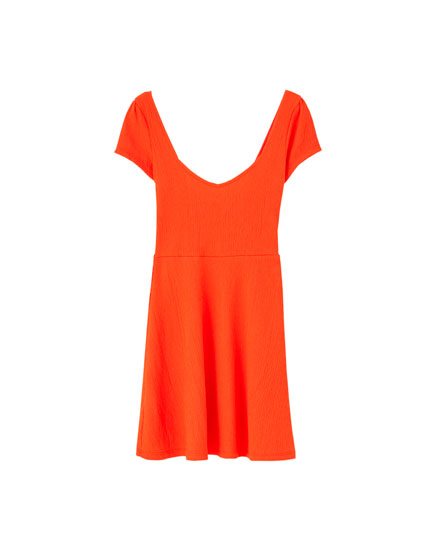 Short crepe sweetheart neckline dress