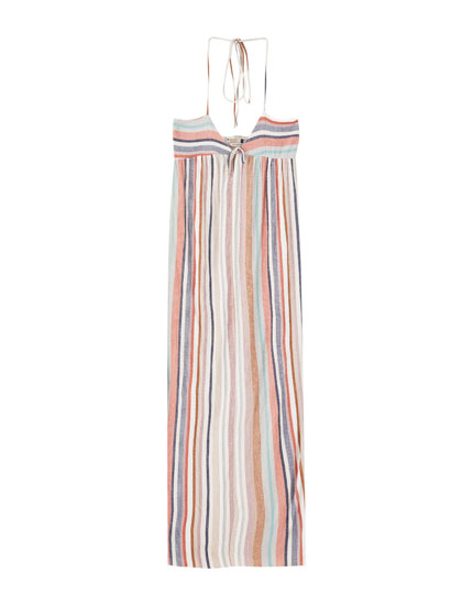 Midi dress with multicoloured stripes
