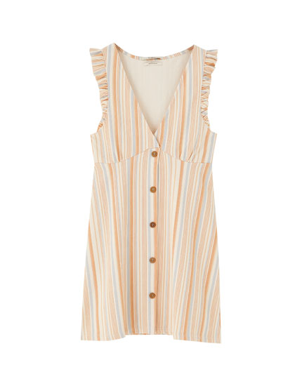 Striped mini dress with buttons