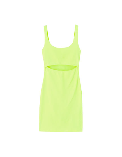 Neon cut-out mini dress