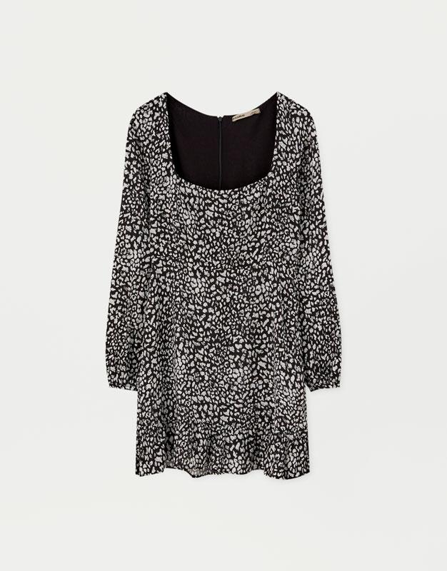3a9c21398114 Mönstrad klänning med snitt i midja – PULL&BEAR
