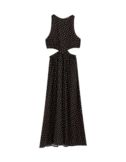 Polka dot cut-out midi dress