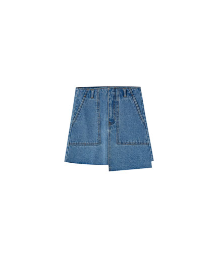 Asymmetric denim mini skirt