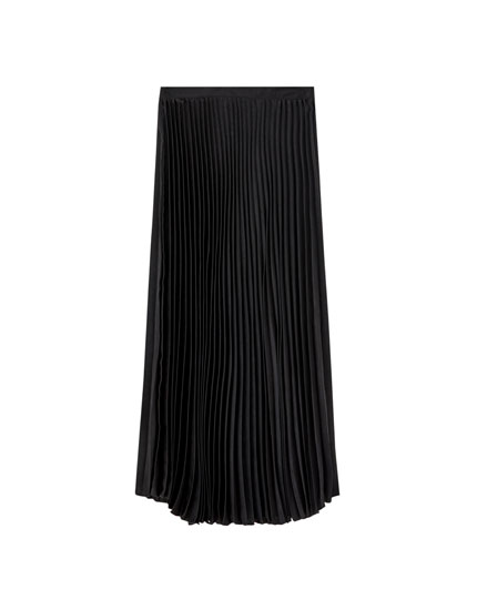 Plain pleated midi skirt