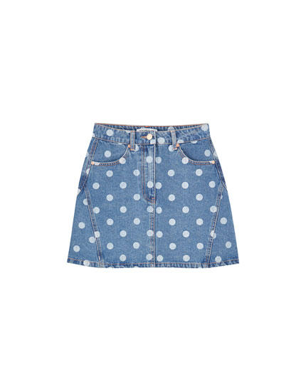 Polka dot denim mini skirt