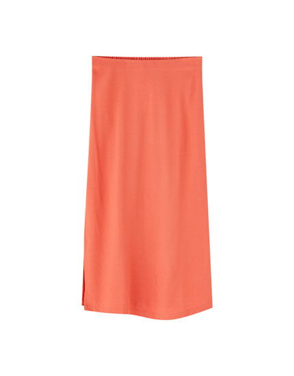 Midi skirt with elastic waistband