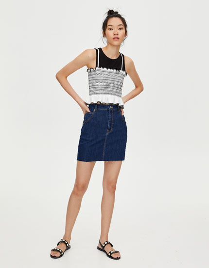 Elasticated denim mini skirt
