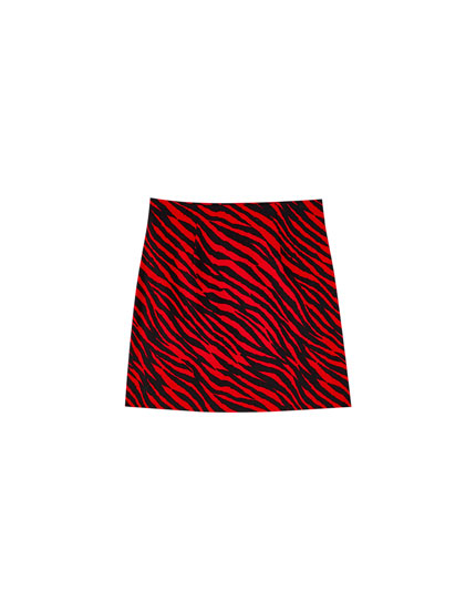 Animal print mini skirt