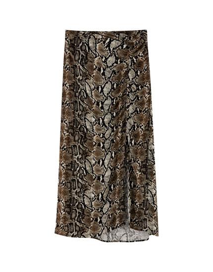 Gathered animal print skirt