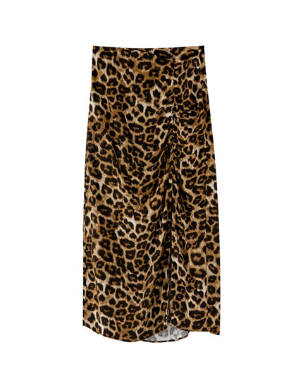 Gathered animal print skirt