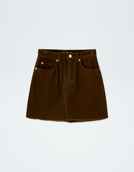 Corduroy mini skirt with frayed hem