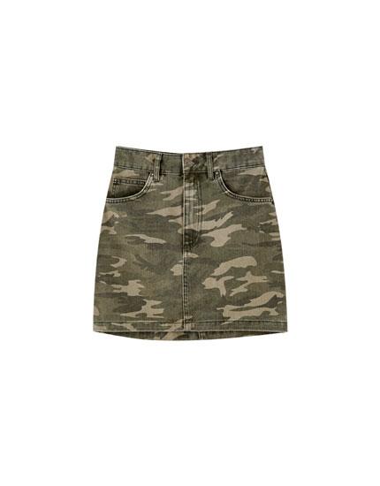 Five pocket camouflage skirt