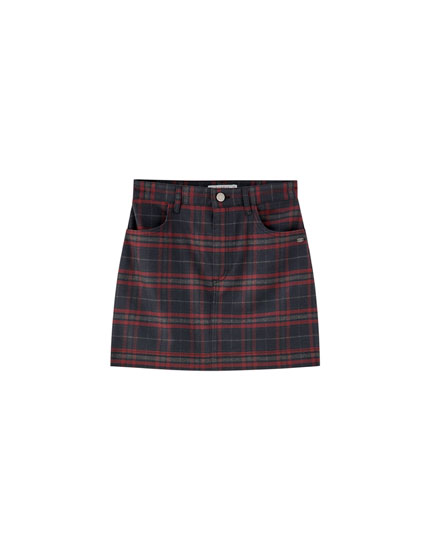 Maroon check skirt