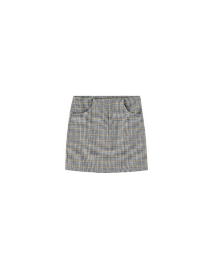 Minifalda cuadros tailoring bolsillos