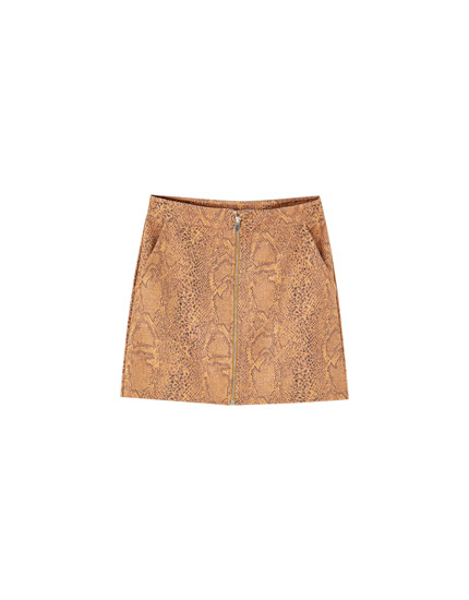 Faux suede animal print mini skirt