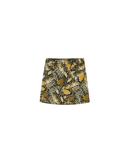 Snakeskin print mini skirt
