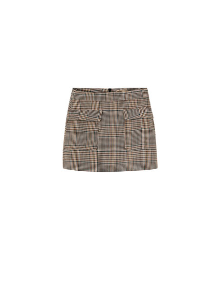 Tailored check mini skirt with pockets