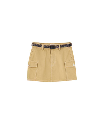 Cargo mini skirt with belt