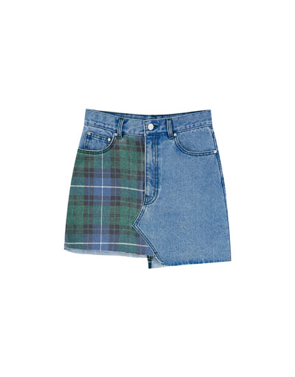 Check denim mini skirt