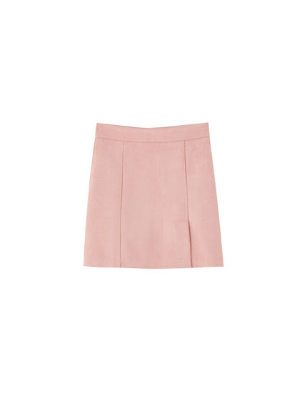 Pink faux suede mini skirt