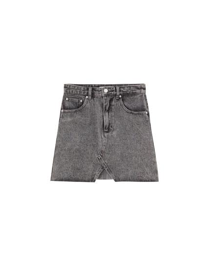 Fitted denim mini skirt