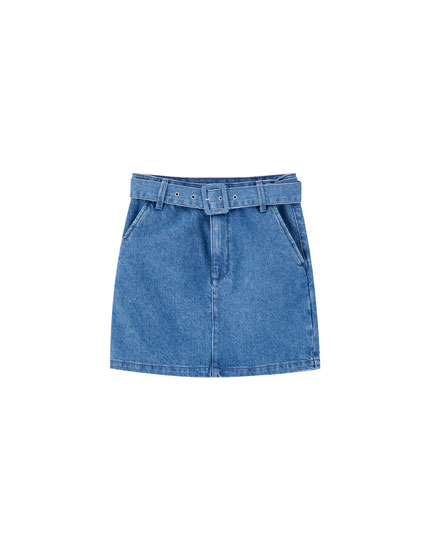 Denim mini skirt with lined belt