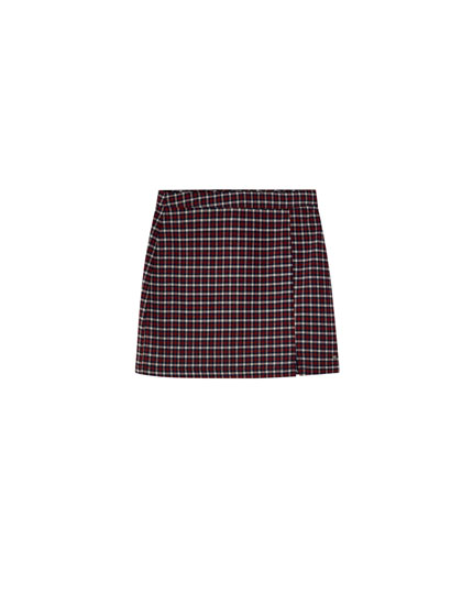 Basic check mini skirt