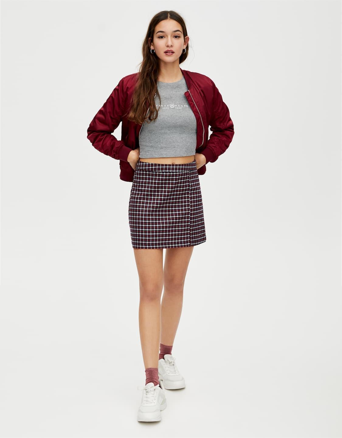 2f89b4afa Basic check mini skirt - PULL&BEAR