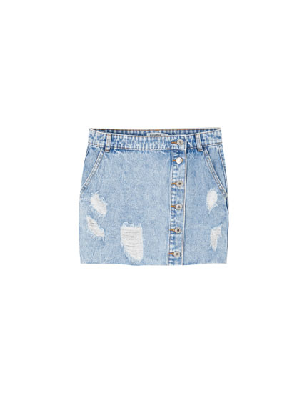 Denim mini skirt with front buttons