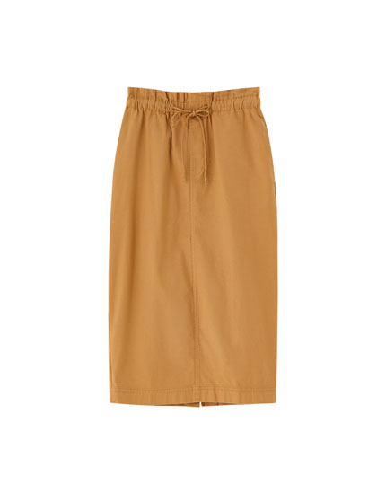 Camel-coloured cargo skirt
