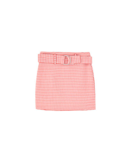 Minifalda cinturón tiro alto