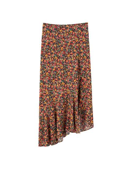 Falda midi flores asimétrica