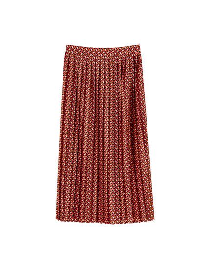 Falda midi plisada geométrica
