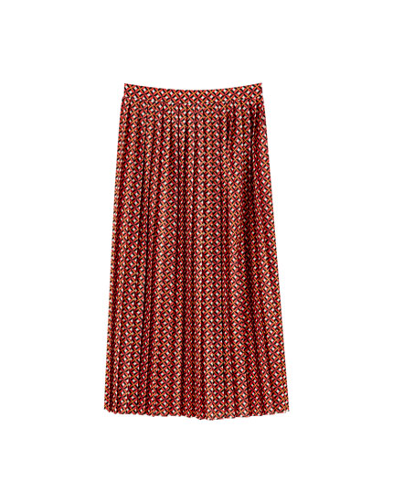 Pleated geometric midi skirt
