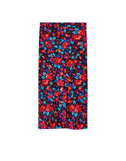 Printed asymmetric midi skirt