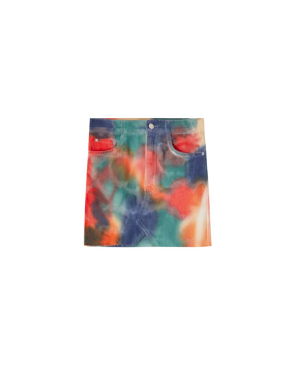 Multicoloured tie-dye mini skirt