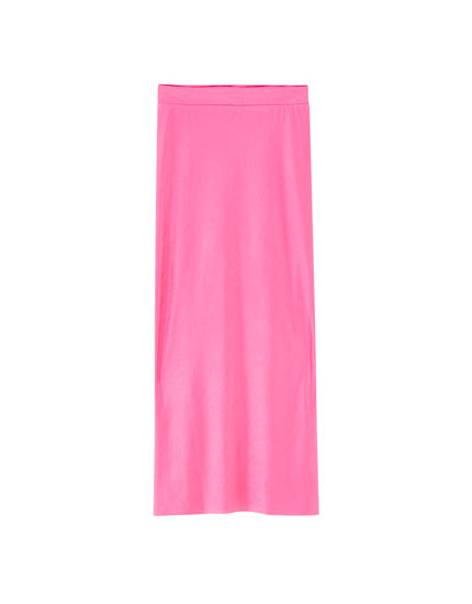 Pink satin-finish midi skirt